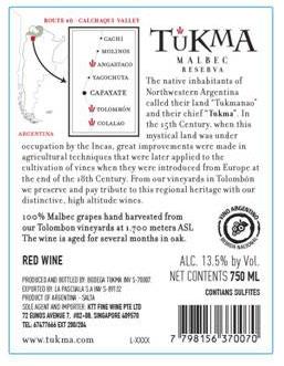 Malbec Reserva 2017 Tukma Back Label