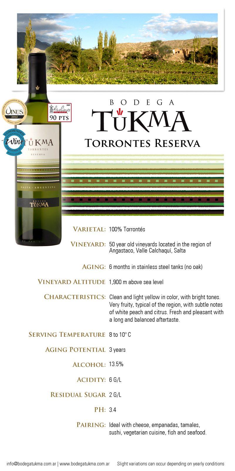 Tukma Torrontes Reserva Infor Sheet