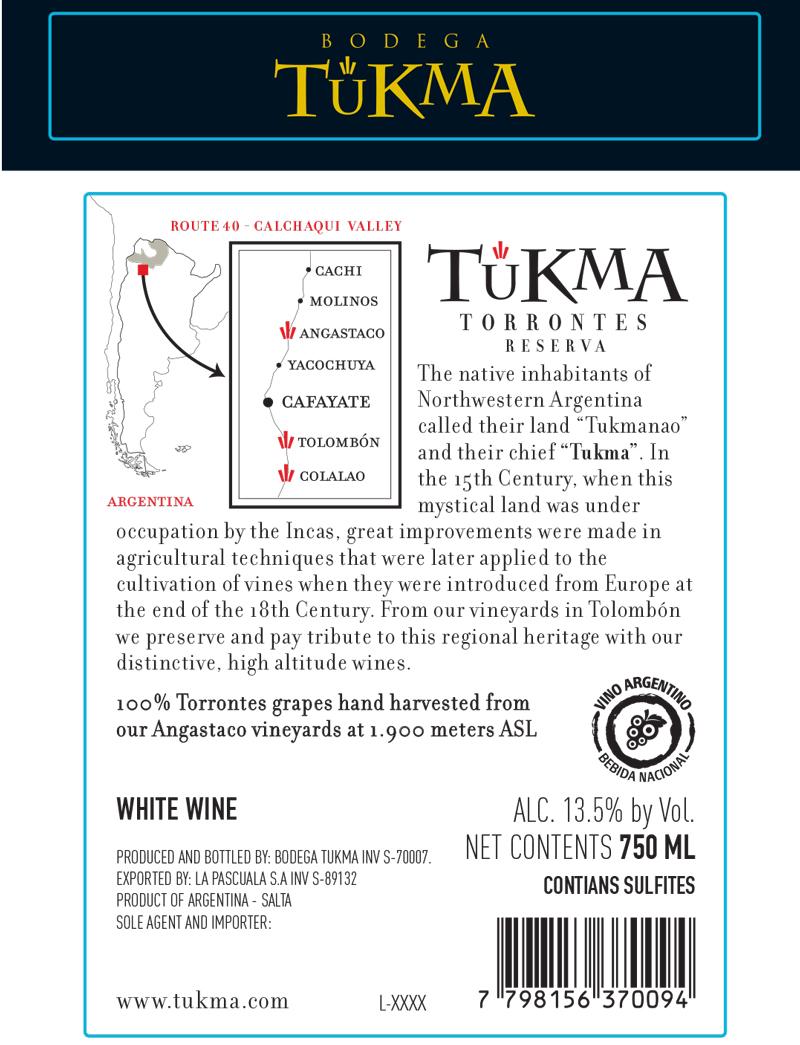 Tukma Torrontes Reserva Label