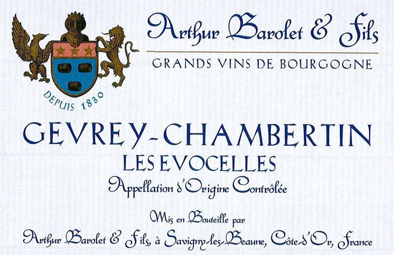 Arthur Barolet & Fils Gevrey-Chambertin Label